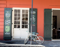 Bike on sidewalk in New Orleans, Louisiana in French Quarter near Bourbon Street stock photo