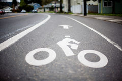 Bike Sign. Bicycle Lane Symbol on the Street Royalty Free Stock Images