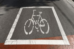 Bike Sign on Asphalt - Barcelona Spain Royalty Free Stock Photos