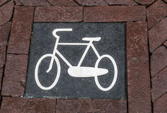 Bike sign. A bike sign in the bike lane path, Amsterdam, Holland Royalty Free Stock Photography