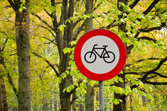 Bike sign in a Park Stock Image