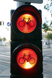 Bike sign in red light Royalty Free Stock Photo