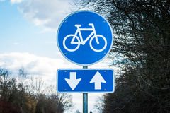 Bike Sign With Two Arrows Royalty Free Stock Photos