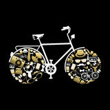 Bike silhouette with hipster icons in gold color Royalty Free Stock Photo