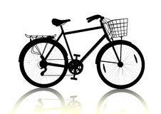 Bike silhouette. Isolated black bicycle with basket silhouette, vector vector illustration