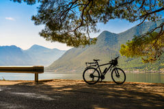 Bike silhouette at the morning. Near sea in Montenegro. Travel background Royalty Free Stock Image