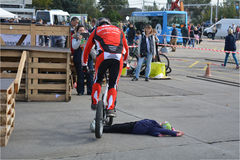 Bike skill demonstration 1 Royalty Free Stock Image