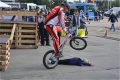 Bike skill demonstration 2 Stock Images