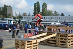 Bike skill demonstration 6 Stock Photo