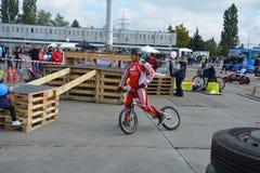 Bike skill demonstration 41 Stock Photo