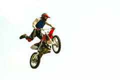 bike sky-jump at the trial show. Biker acrobatic jump at the trial show Royalty Free Stock Photos