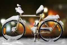 Bike in snow Stock Photo