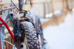 Bike in the snow Stock Images