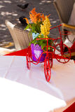 Bike souveniron the table restaurant in the Old Town of Chania, Crete royalty free stock images