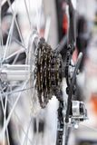 Bike speed changing assembly. Rear wheel. Steel bicycle chain. Transmission gears close-up.  Stock Images
