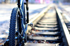 Bike stands on a railway Stock Photo