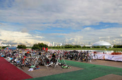 Bike stop on the triathlon. Triathlon competition in Moscow, bikes, Olympic games, sport Stock Images