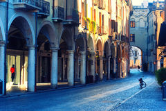 Bike on the street arcades in the early morning in Mantova Royalty Free Stock Images