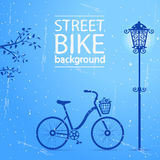 Bike street. Illustration silhouette of a bicycle and a street lamp stock illustration