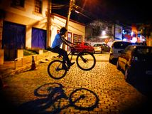 Bike street. Performance at night in a bycicle Royalty Free Stock Photos