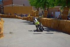 Bike Street Racing Foot Down Stock Photo