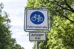 Bike street sign german. At ba bike road Stock Images