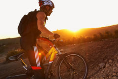 On the bike in sunset Royalty Free Stock Images