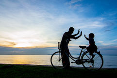 Bike sunset Royalty Free Stock Images