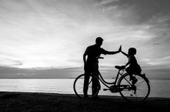 Bike sunset Stock Image