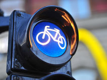 Bike symbol in city traffic light Royalty Free Stock Photos