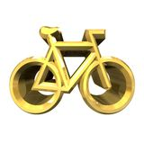 Bike symbol in gold (3d) Stock Images