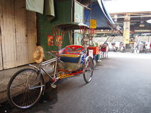 Bike taxi. Tipycal bike  taxi waiting in Chiang Mai market, Thailand Stock Image