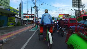 Bike taxis in Jogjakarta Java Indonesia stock video