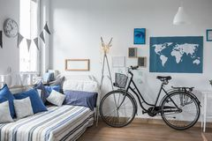 Bike in teenager's room Stock Image