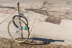 Bike theft with locked wheel Stock Image