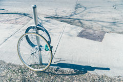 Bike theft with locked wheel Stock Photo