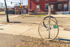 Bike theft with locked wheel Stock Images