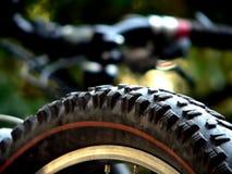 Bike tire. Used mountain-bike tire detail stock photos