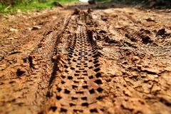 Bike tire tracks on muddy trail royalty. Tire tracks on wet muddy road, abstract background, texture material. Tyre track on dirt sand or mud, retro tone Stock Photography