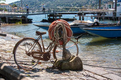 Bike to the port. Isola dei Pescatori Lake Maggiore Stresa Piemonte Italy Royalty Free Stock Photos