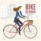 Bike to work  illustration Royalty Free Stock Photo