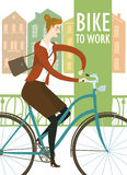 Bike to work  illustration Stock Photos