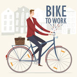 Bike to work  illustration Stock Photography