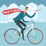 Bike to work poster with business man Stock Image
