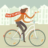 Bike to work poster with worker lady. City style lady worker with scarf riding on a bicycle. Bike to work poster. Including european cityscape background. Hand Stock Photo
