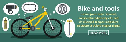 Bike and tools banner horizontal concept Royalty Free Stock Photos