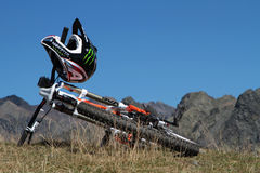 Bike at the top. CHAMROUSSE, FRANCE, August 26, 2015 : The mountain resort of Chamrousse is a well-known place for hiking and bike riding among beautiful Stock Photos