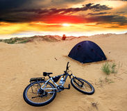 Bike in tourist camp Stock Photography
