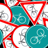 Bike traffic signs pattern Royalty Free Stock Photos