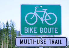 Bike trail sign. Bike route multi-use trail sign with clipping path Royalty Free Stock Photo